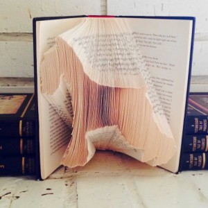 Schnauzer Book Origami - Upcycled Book - Schnauzer Folded Book Art
