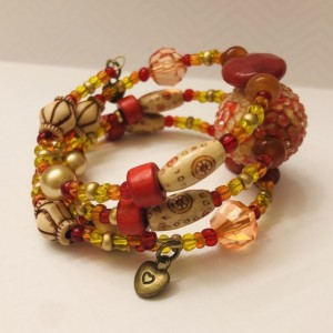 Red and Wood Beaded Memory Wire Bracelet