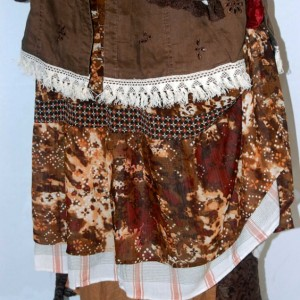 plus size 2-pc dress L XL brown linen eco clothing altered refashioned upcycled restyled boho indie trendy romantic lagenlook unique edgy