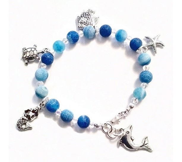 Beach Charm Bracelet, Star Fish Charm, Blue Agate Bracelet, Mermaid Jewelry, Sea Turtle, Sea Life Jewelry, Fish Charm Bracelet Dolphin Charm