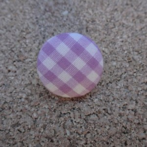 Purple and White Checked, Stud Button Earrings