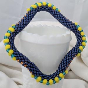 Beachy Blue Square Bead Crochet Bangle