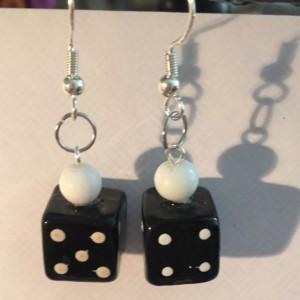 Roll the dice glass earrings