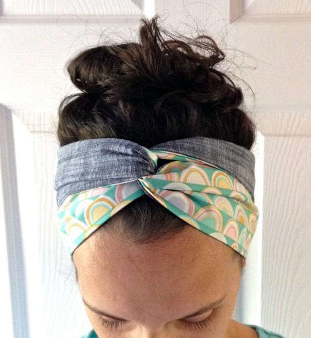Junebug hair scarf -- reversible hair scarf, hair scarves, head scarves, chambray headband, head wraps for women, turban headbands