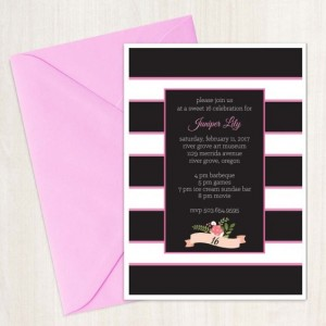 Custom Invitation - Pink and Black - Stripes - Sweet 16 - Digital File - DIY - Custom Design