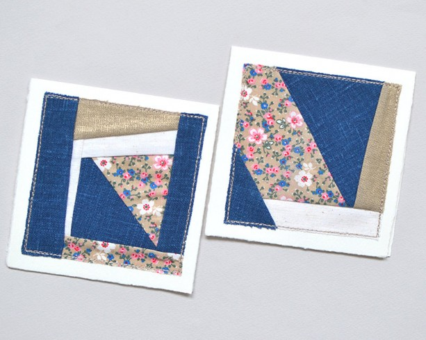 Patchwork greeting cards -- set of 2 floral quilt block cards
