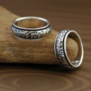 Floral Spinner Ring in Sterling Silver - Made Upon Order