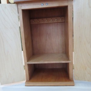 Cherry Jewelry Box, Maple Splines, Shelf, and Doors with Limb Inlay
