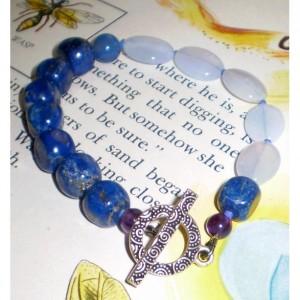 Blue Chalcedony and Lapis Bracelet