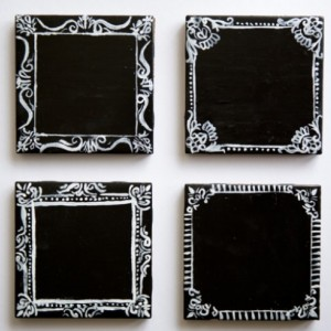 Chalkboard Coasters with White Frame