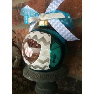 Chevron Baseball/Softball Glass Ornament