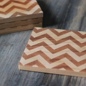 Chevron Coasters - Modern Solid Wood Set of 4