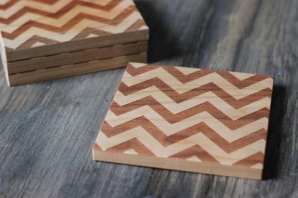 Chevron Coasters - Modern Solid Wood Set of 4