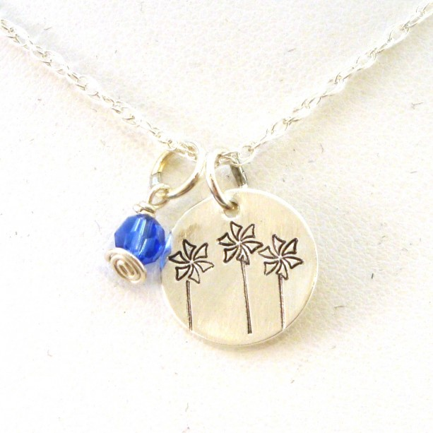 Child Advocacy Pinwheels Necklace for Child Abuse Awareness