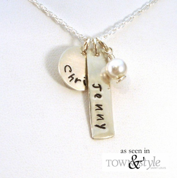 Mother's Necklace - Personalized Circle and Rectangle Pendants