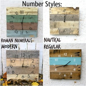 Farmhouse Style Pallet wood Clock with NAUTICAL inspired numbers