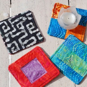 Assorted Batik Coaster Set with Orange, Blue, Red, White, Black, Green, and Purple Designs