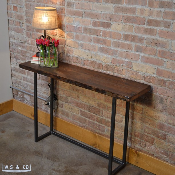 ... reclaimed wood metal legs console table 48 reclaimed wood metal legs