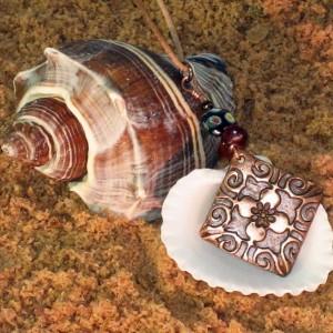 Precious Metal Copper Clay Floral Necklace