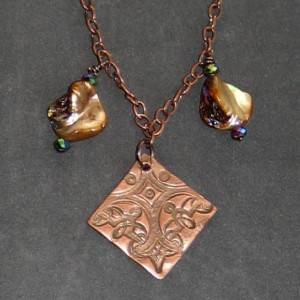 Precious Metal Clay Copper and Shell Necklace