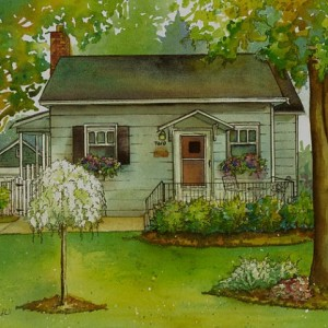 House Portrait Painted in Watercolor with Ink