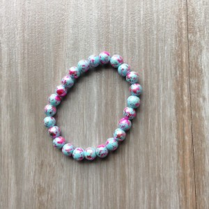 Blue and Pink Foil Marble Stretch Bracelet // Arm Candy //Cotton Candy