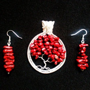 Red Bamboo Coral Tree Of Life Pendant with FREE Matching Earrings!