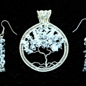 Iced Quartz Tree of Life Silver Wire Wrap Pendant with FREE matching Earrings.