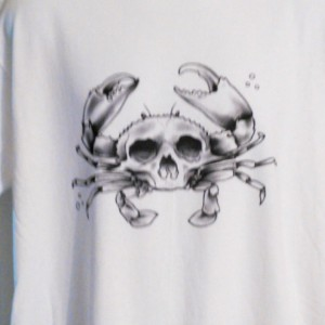 Evil Crab Tattoo Flash T-Shirt Cool Nautical Skull Black And Gray