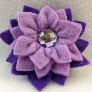 Handmade Aster Mini Clip Hair Accessory - 2 Flowers