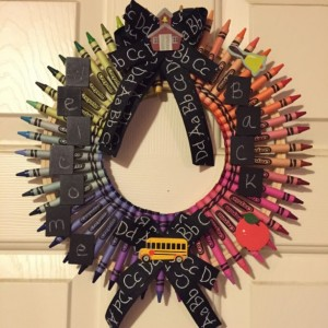 """Welcome Back"" crayon Wreath"