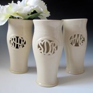 Tall Cursive Monogram Vase - 3 letters