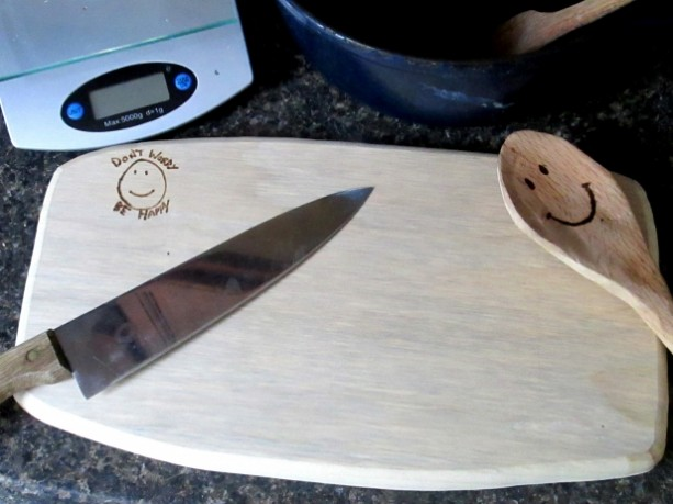 "Maple Cutting Board, 15""x9"", Don't Worry Be Happy, Handmade"