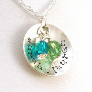 Mother's Necklace with 2 Birthstones & Names - Cuppa Love Dotz