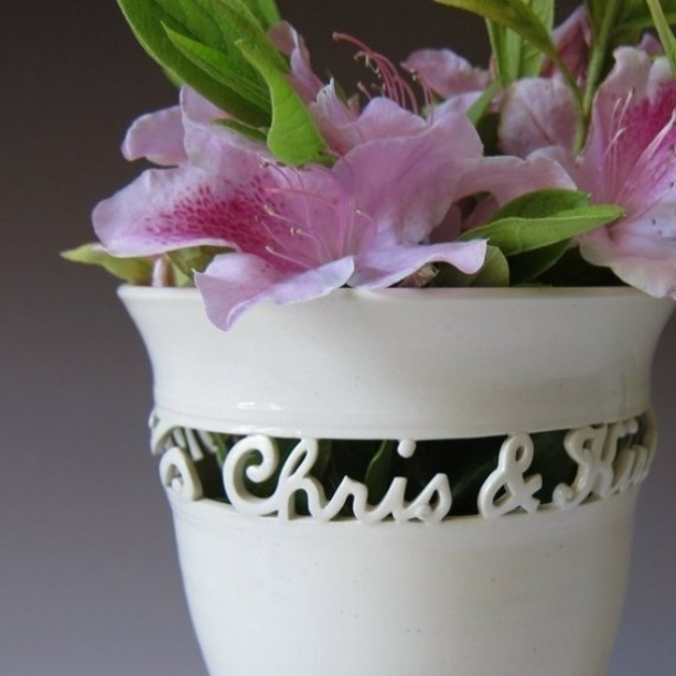 Full Cursive Wedding Vase with names and date