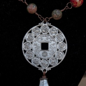 Ba Gua Steampunk NECKLACE - Chinese zodiac pendant