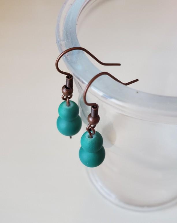 Handmade Teal, Blue Dangle Drop Earrings