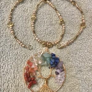 "Golden Tree of Life handmade beaded necklace 17"" long"