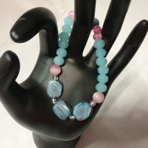 Blue & White Wave Glass Bead & Pink Cats Eye Gemstone w/Lava Stone Diffuser Bracelet