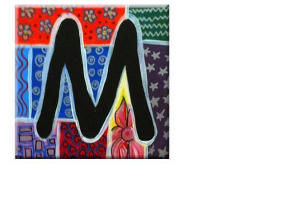 "TILE - ALPHABET Letter ""M"" - Signed By Artist A.V.Apostle"