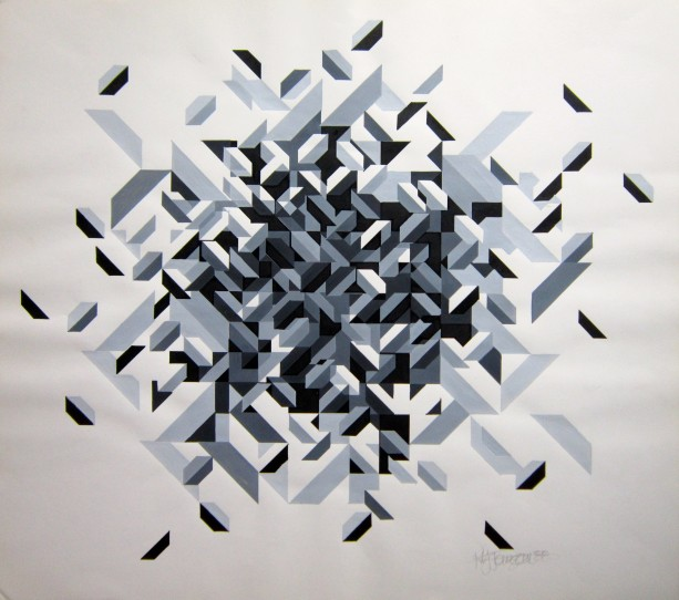 """Domino""  Graphic Painting in Black, White, Grey"