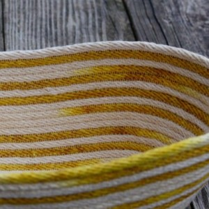 oval coiled rope basket, variegated natural white and yellow