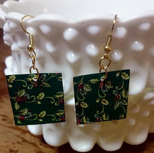 Tin Christmas Earrings, Holiday Earrings, Holly Earrings, Misteltoe Earrings,  Repurposed Earrings, Recycled Earrings