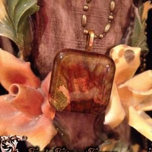 """Petals"" Real Dried Rose Petal Square Pendant with Swarovski Crystal Option"