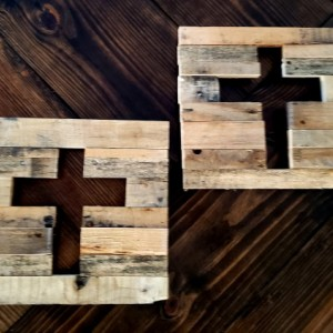 Set of 2 pallet wood art crosses. Handmade.