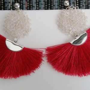 Elegant Red tassel earrings