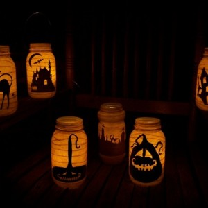 Primitive Halloween Witch Silhouette Lantern Candle Holder Light Luminary Decor Decoration Fall Centerpiece Grungy Folkart Folk Art