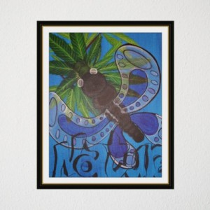 Nature - acrylic painting of butterfly with natures natural beauty