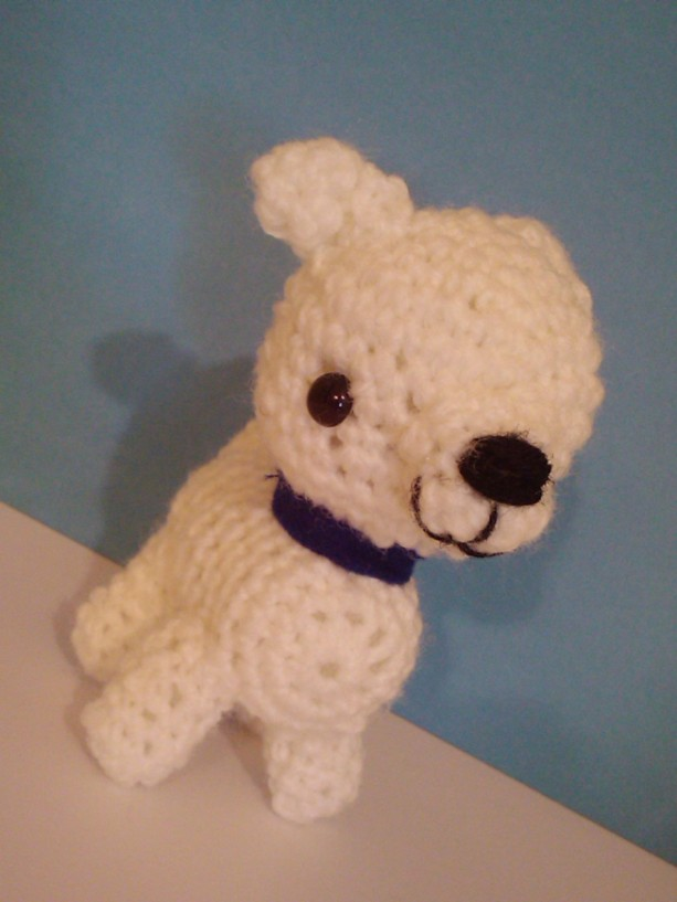 Crochet White Pit Bull Puppy Plush Toy Amigurumi