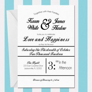 Printable Wedding Invitation , Modern and Fun , Black and White , Digital Invitation , Customized